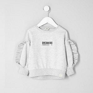 Mini girls grey ruffle sleeve sweatshirt