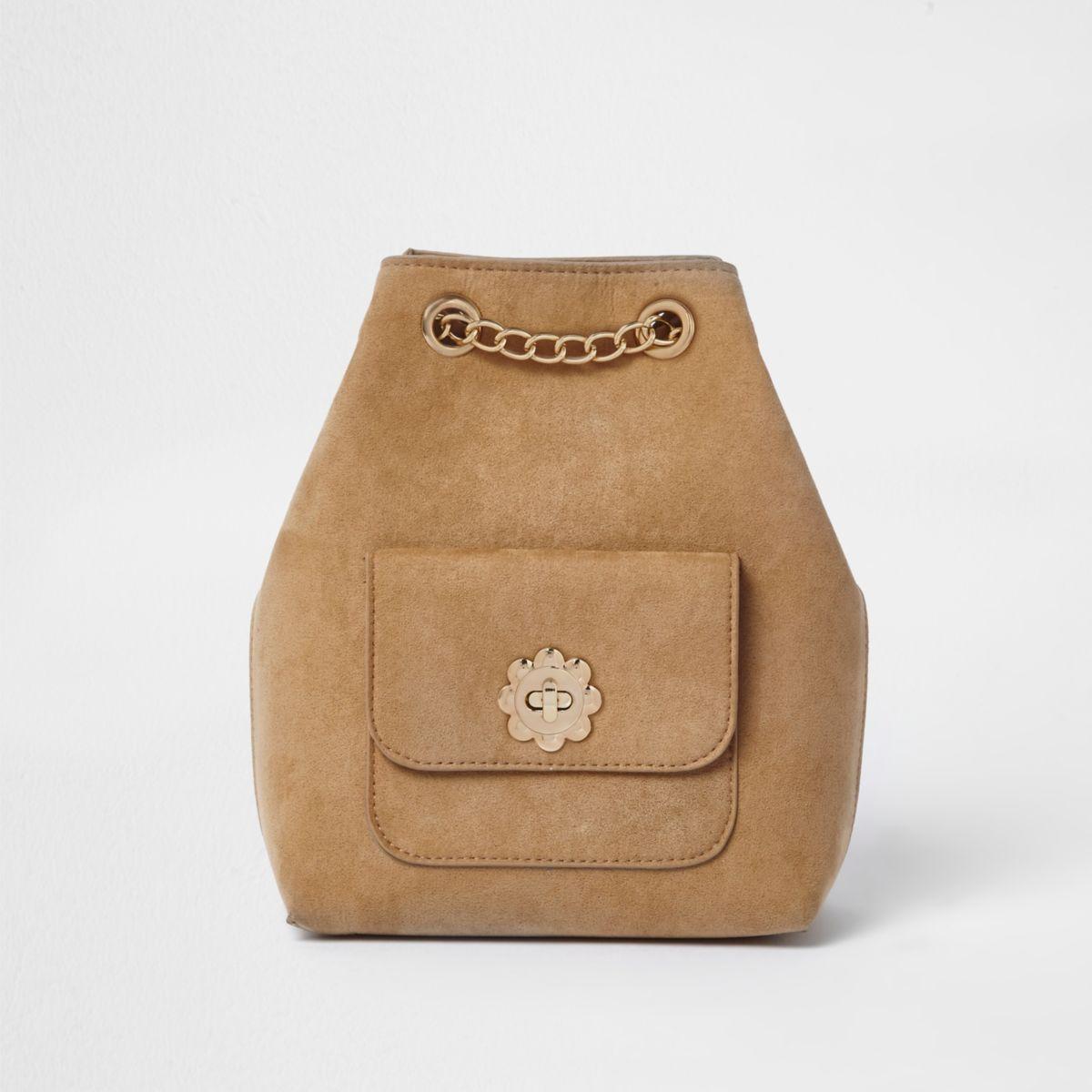 Girls light brown chain bucket backpack