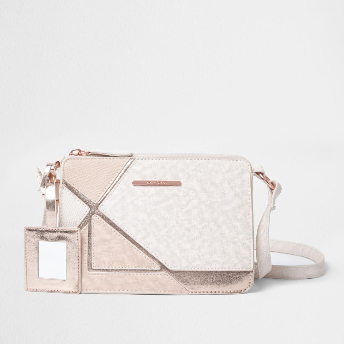 Girls pink cutabout metallic cross body bag