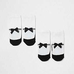 Mini - set witte sokken met strik en strepen voor meisjes