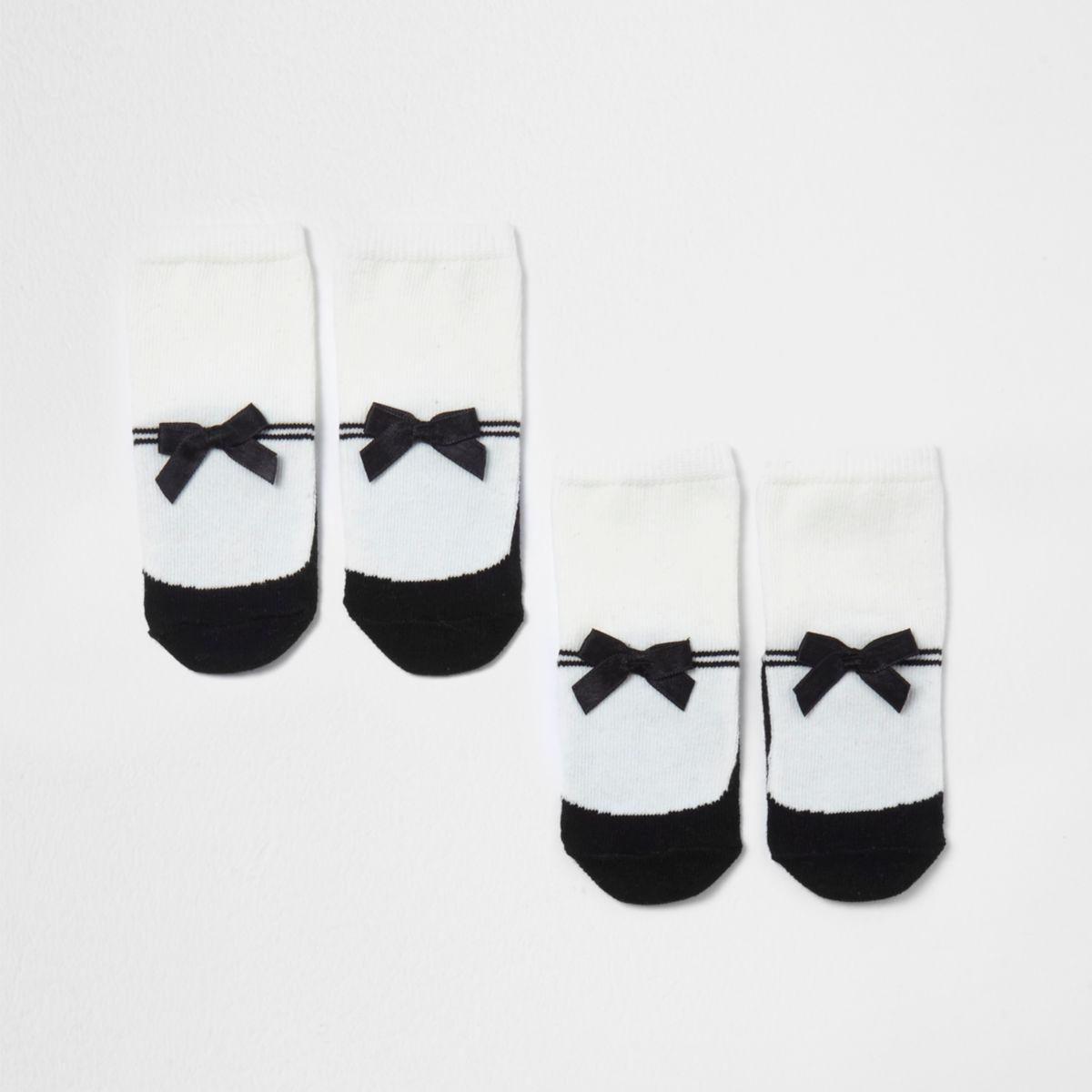 Mini girls white bow stripe socks pack