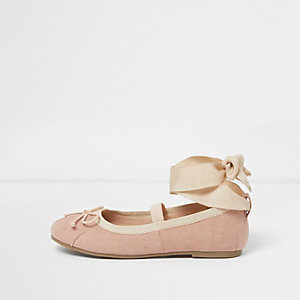 Girls nude tie up ankle ballet pumps