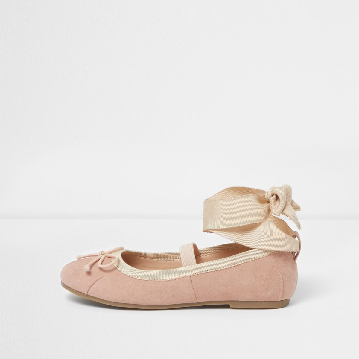 Girls nude tie up ankle ballet flats