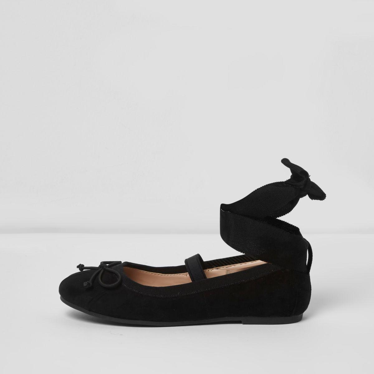 Girls black tie up ankle ballet flats