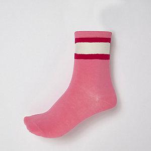 Chaussettes tubes rayées en maille rose pour fille