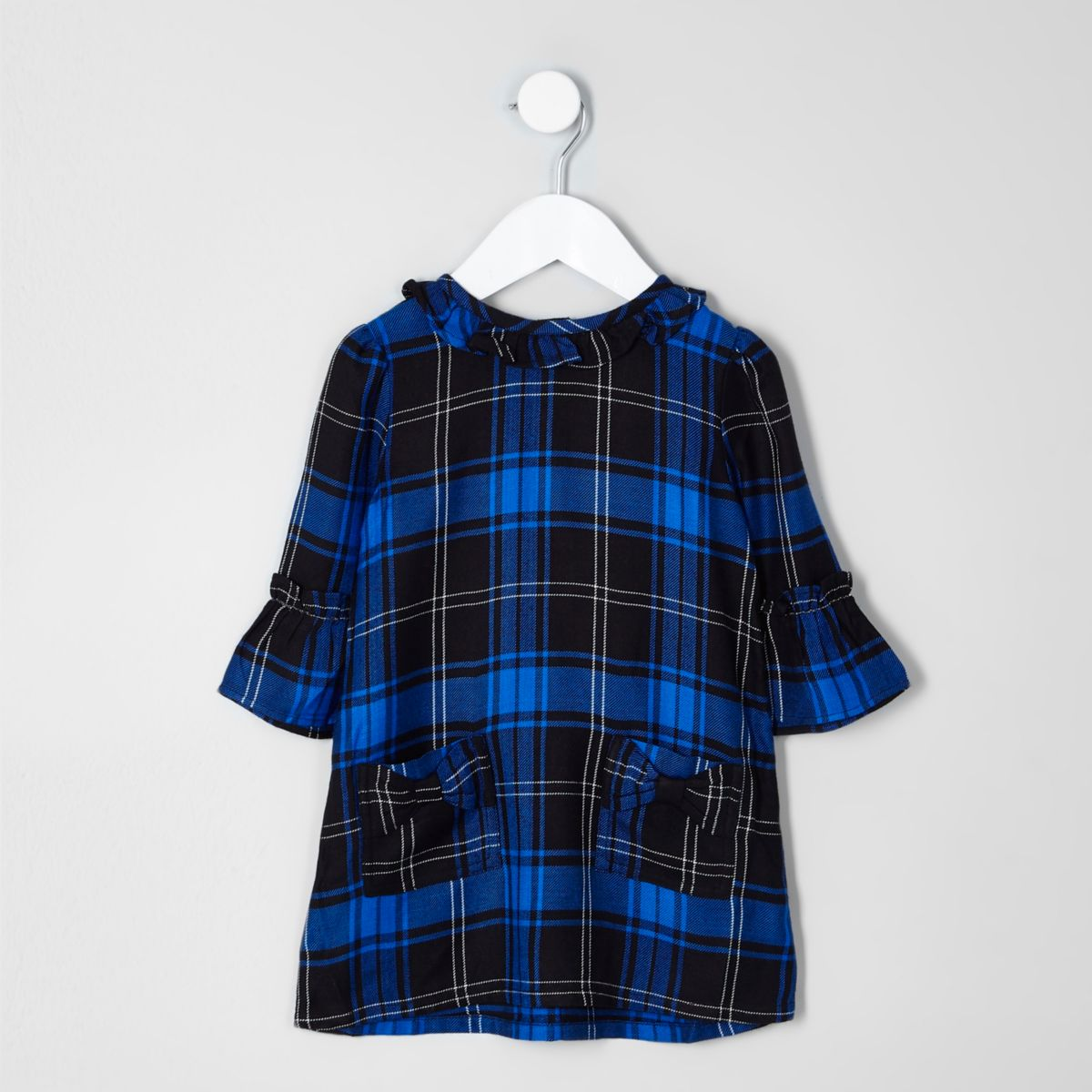 Mini girls blue check bow shift dress