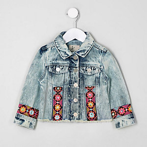 Mini girls blue embroidered trim denim jacket