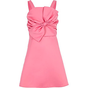 Girls pink satin bow prom dress