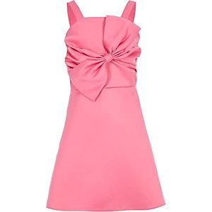 Robe de gala en satin rose avec nœud pour fille