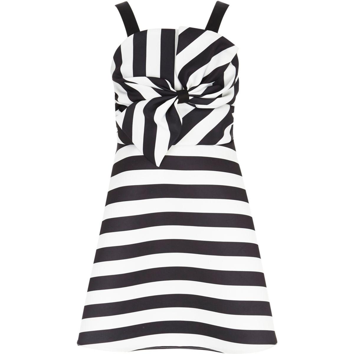 Girls black stripe satin bow prom dress