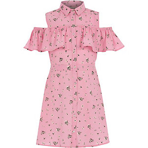 Girls pink frill cold shoulder shirt dress