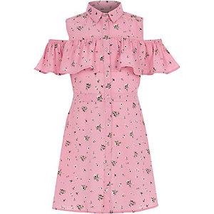 Girls pink frill cold shoulder shirt dress