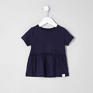 T-shirt à ourlet péplum bleu marine mini fille