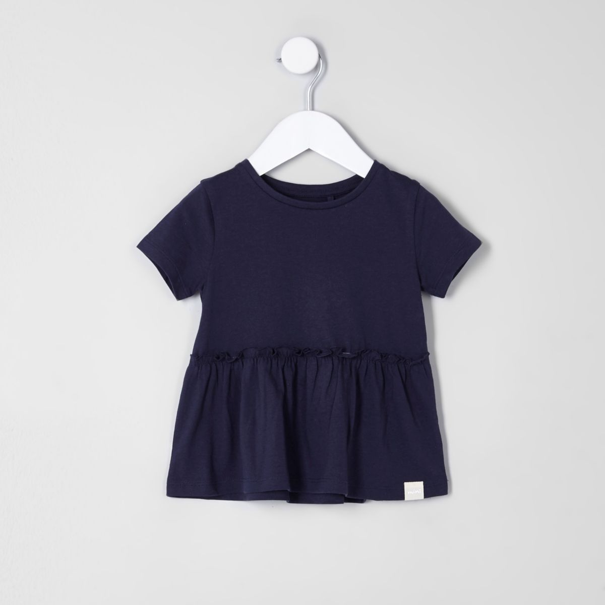 Mini girls navy peplum hem T-shirt