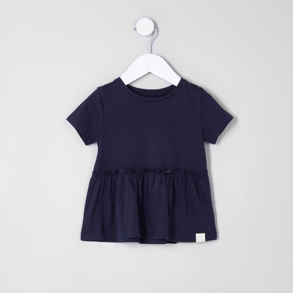 Mini girls navy peplum hem T-shirt
