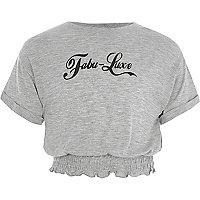 Girls 'fabu-luxe' shirred hem T-shirt