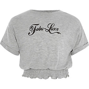 'fabu-luxe' T-shirt met gesmokte zoom voor meisjes
