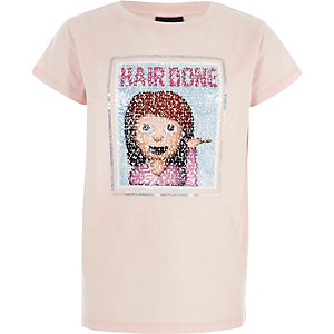 Girls pink reversible sequin T-shirt