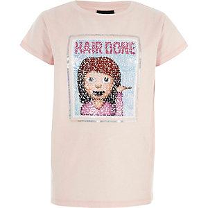 Roze omkeerbaar T-shirt met lovertjes voor meisjes