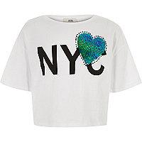 Girls white 'NYC' print heart sequin T-shirt