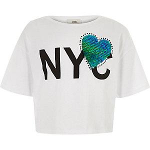 Wit T-shirt met hart van pailletten en 'NYC'-print voor meisjes