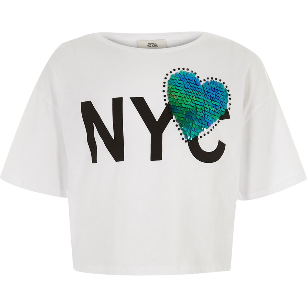 Girls white 39 nyc 39 print heart sequin t shirt t shirts for Girls sequin t shirt