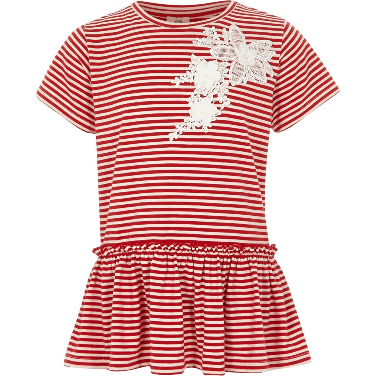 Girls red stripe lace applique frill T-shirt
