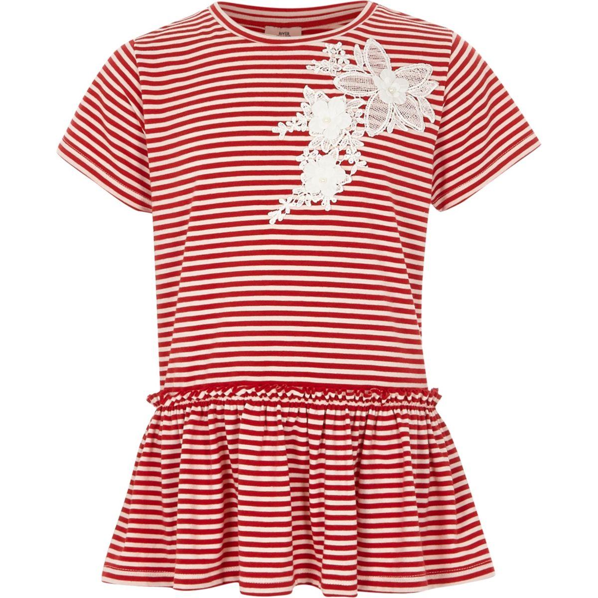 T-shirt rayé rouge à appliqué en dentelle et volant fille