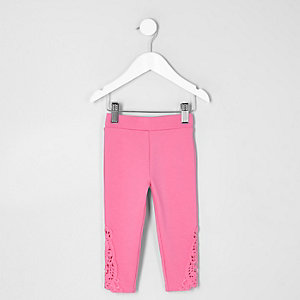 Mini girls pink crochet hem leggings
