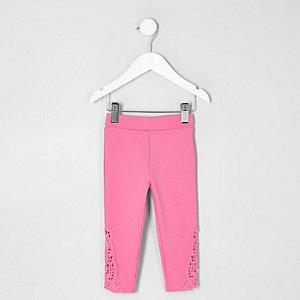 Mini - Roze legging met gehaakte zoom voor meisjes