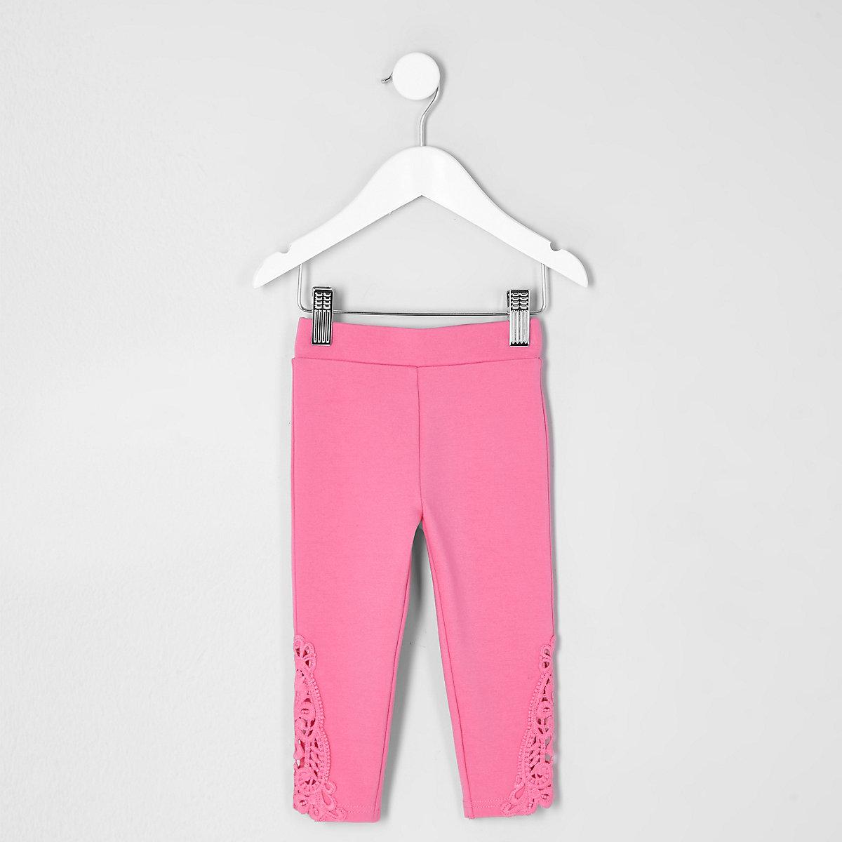 Mini girls pink crochet hem leggings