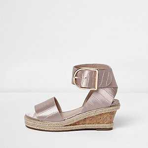Girls lilac croc embossed wedge sandals