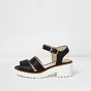 Girls black croc embossed chunky sandals