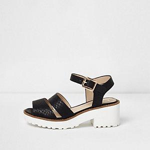 Girls black croc embossed chunky sandals