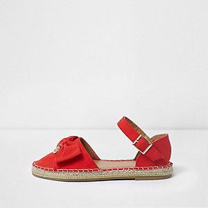 Sandales espadrilles rouges avec nœud sur le dessus pour fille