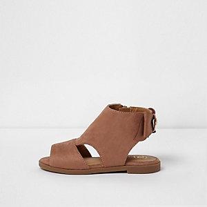 Mini girls tan bow back shoe boots
