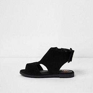 Mini - Zwarte schoenlaarsjes  met strik voor meisjes