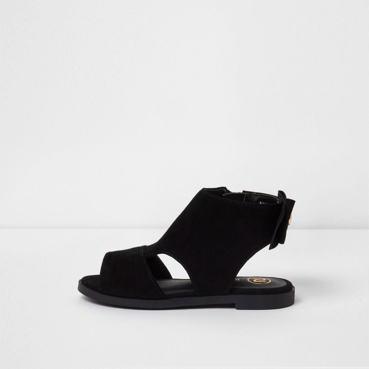 Mini girls black bow back shoe boots