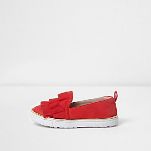 Mini girls red ruffle layer top plimsolls