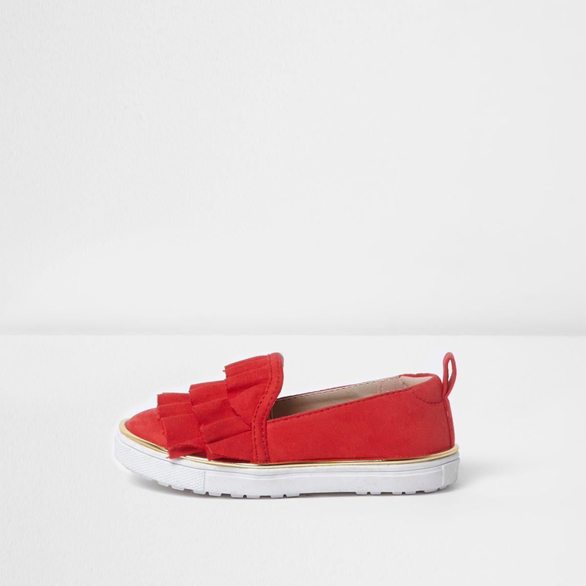 Mini girls red ruffle layer top plimsolls