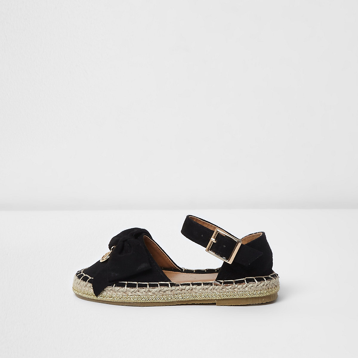 Mini girls black bow top espadrille sandals