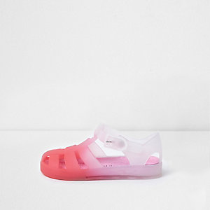 Mini girls pink ombre jelly cage sandals