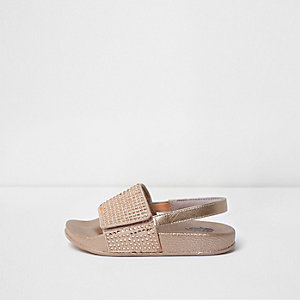 Mini girls pink studded slingback sliders