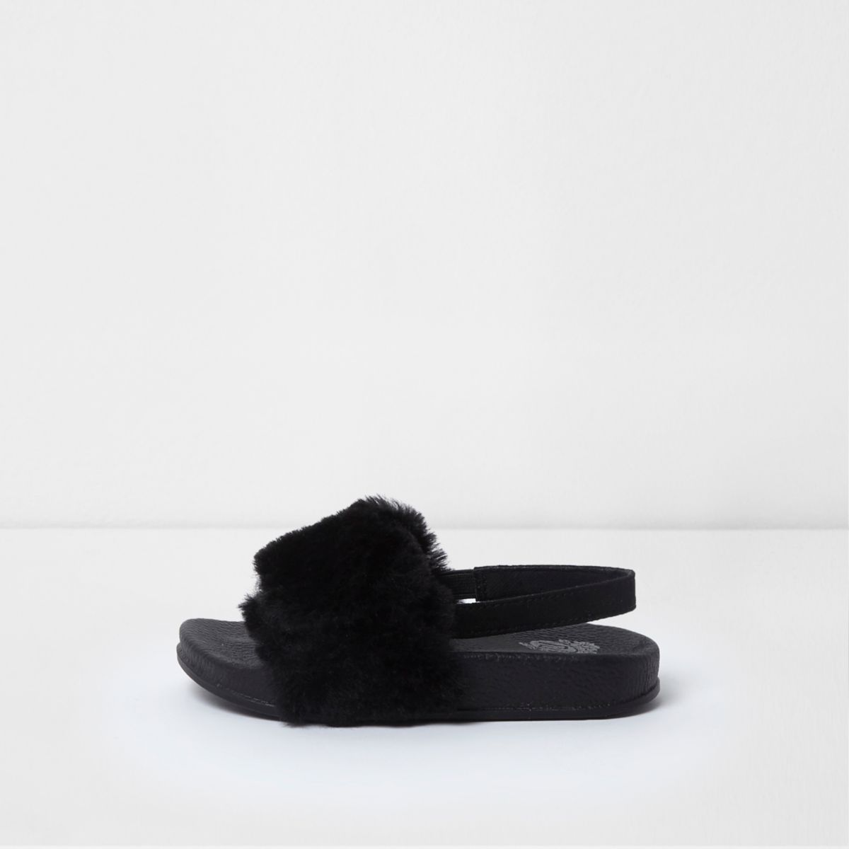 Mini girls black faux fur sling back sliders