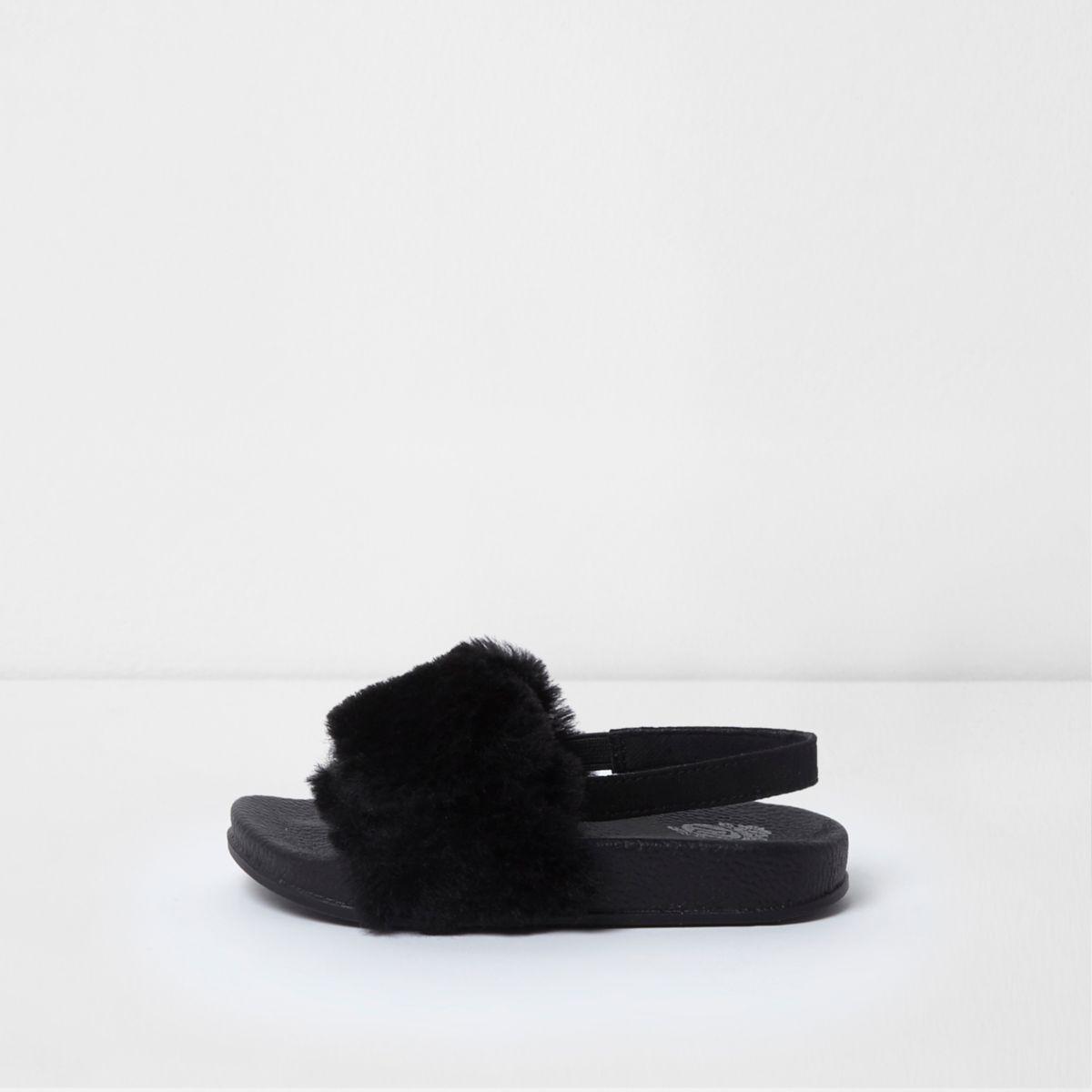 Mini girls black faux fur sling back sliders