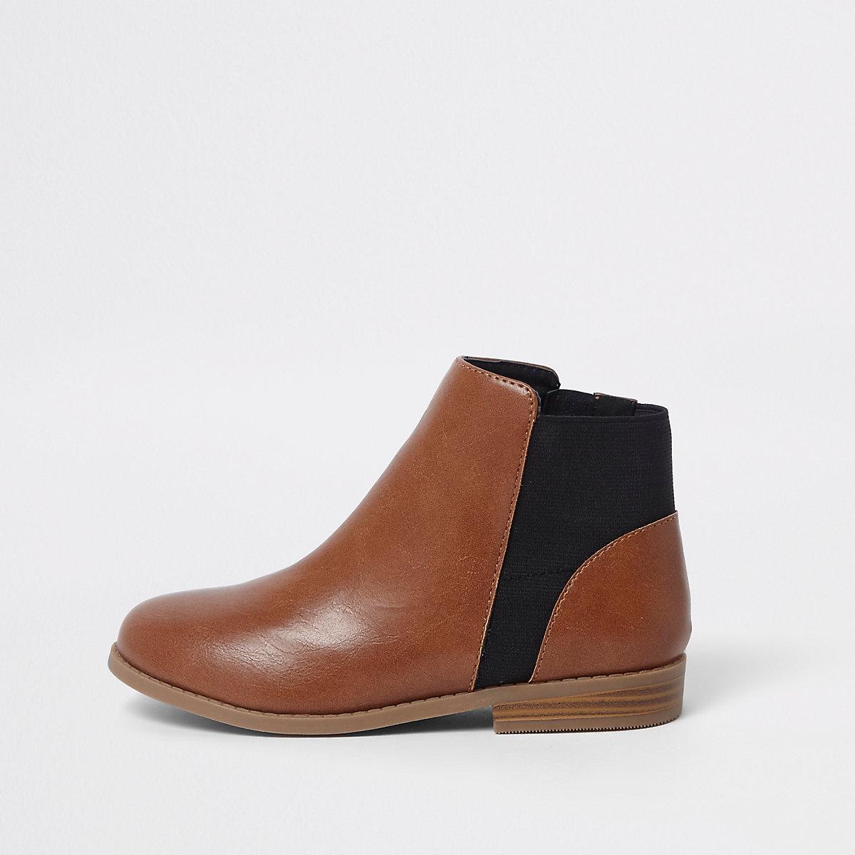 Girls tan chelsea boots