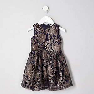 Mini girls navy lurex stitch lace prom dress