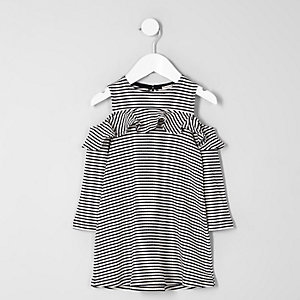 Mini girls white stripe cold shoulder dress