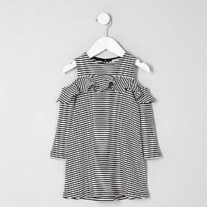 Mini - Witte gestreepte schouderloze jurk voor meisjes