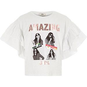 Wit T-shirt met ruches en 'amazing girl'-print voor meisjes